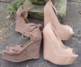 NEW 2 x Bundle Platform wedge High Heel Shoes Sandals Nude Beige UK Size 4