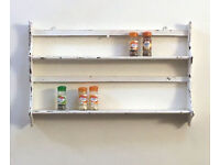 Antique Painted Wooden Kitchen Spice Rack / Shelf - Shabby Chic