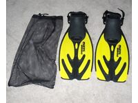 Mares Wahoo Pair Of Snorkel Fins - Size L-XL - Color Yellow and Black