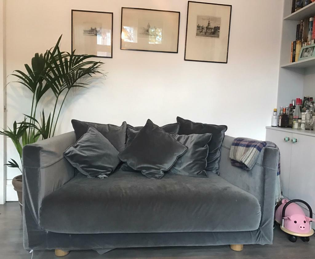 Grey, Velvet, Ikea, Two Seat Sofa: STOCKHOLM 2017