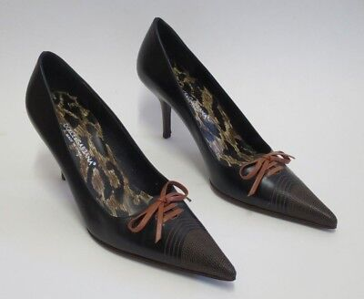 Dolce & Gabbana Signature Leather Pointy Toe Heel Bow Pumps Shoe 38.5 (USA 8.5)