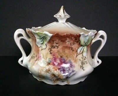 Covered R S Prussia Sugar Bowl Double Handles Unmarked