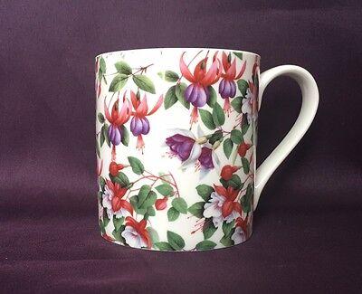 Bone China Fuchsia Flower Mug Hand Decorated In Wales Bone China Flower