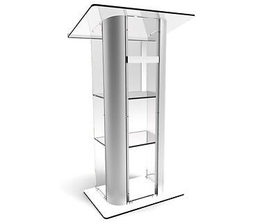 Acrylic Podium Curve Pulpit Plexiglass Church Podium Curved Brushed Lectern
