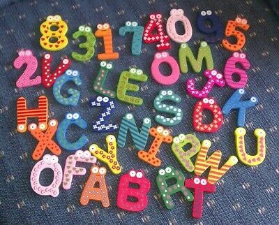 36 piece Whimsical Wooden Magnetic Alphabet and Numbers Fridge Toy