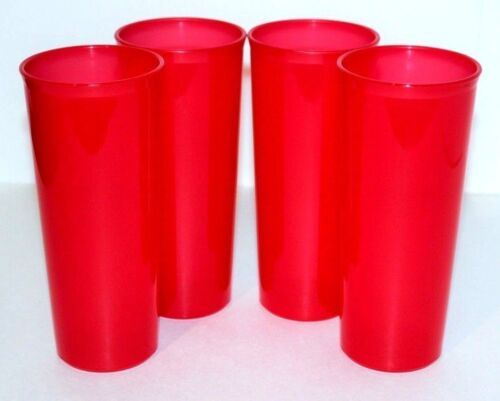 Tupperware Tumbler Cups Set of 4 Straight Sided 16 oz. Bright Red