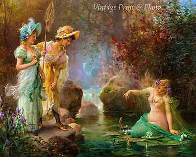 A Water Idyll by Hans Zatzka Art Fantasy Girls Pond Fish Play 8x10 Print 1069 (A Girls Fantasy)