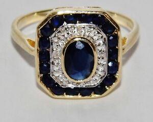 ART DECO 9 CT YELLOW GOLD BLUE SAPPHIRE & DIAMOND LADIES CLUSTER RING - size M
