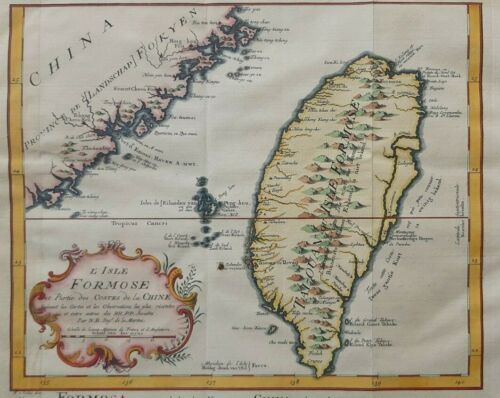 CHINA Map TAIWAN Formosa NICOLAS BELLIN Colored