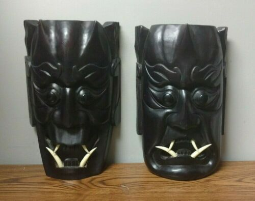 2  Japanese Hannya Masks Horned Evil Demon Devil Oni Noh Kabuki