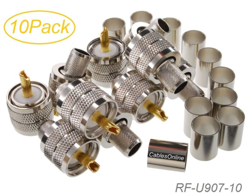 10-Pack, UHF PL-259 Male Crimp Type RF Connectors for RG8/RG213/LMR400 Coax Wire