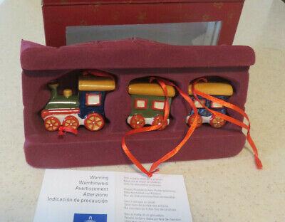 Villeroy & Boch Nostalgic Ornaments 3 pc Train Set Christmas Ornaments Boxed