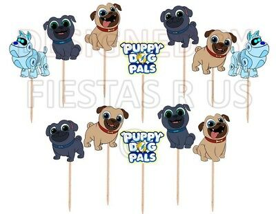 Puppy Dog Pals Cupcake Toppers 12 or 24 pc. Party Supplies Cake Decorations (Puppy Dog Party Supplies)