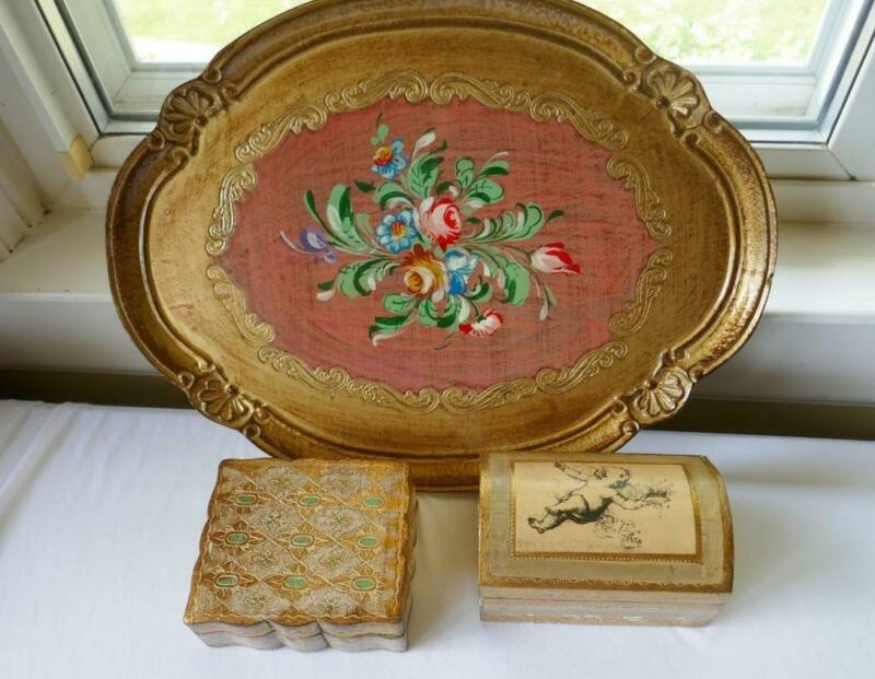 """3 VINTAGE ITALIAN GOLD FLORENTINE WOOD BOXES & HAND PAINTED OVAL TRAY 16"""""""