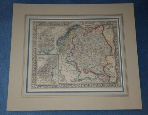 1860 RUSSIA SWEDEN NORWAY BELGIUM DENMARK HOLLAND MITCHELL MAP RARE CIVIL WAR