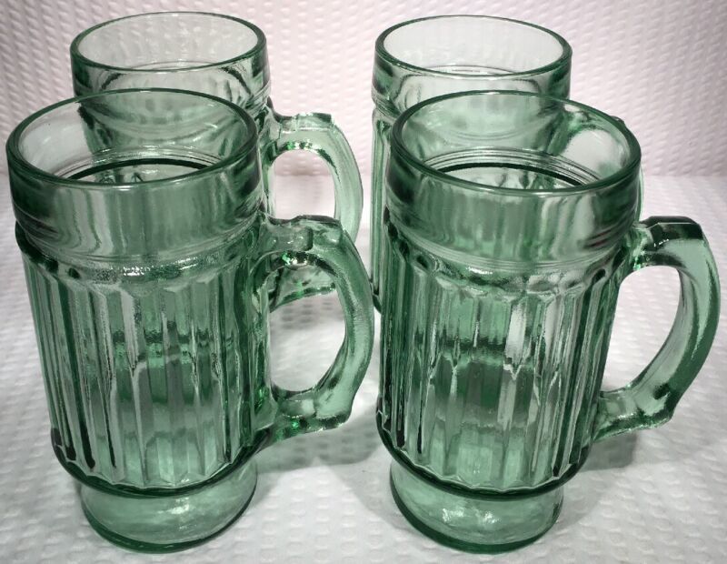 "Lot O 4 ~ Vintage 5 3/4"" Light Green Glass Vertical Ribbed Mugs ~ EXCELLENT CON!"