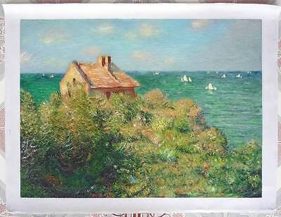 Ölbilder Ölgemälde Gemälde Monet : Fisherman's Cottage on the Cliffs at Varengev