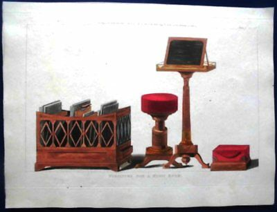 FURNITURE FOR A MUSIC.ROOM.KUPFERSTICH 1816.Altkoloriert.Sehr selten.