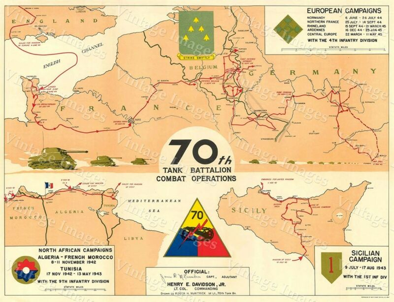 LARGE MILITARY MAP 70th Tank Battalion Armored Regiment Campaign WWII Map
