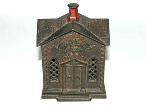"1882 Cast Iron Still Coin Bank KYSER & REX ""VILLA"" Church"
