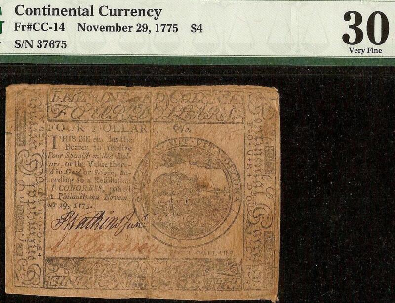 1775 WILD BOAR 4$ FOUR DOLLAR CONTINENTAL CURRENCY COLONIAL NOTE CC-14 PMG 30