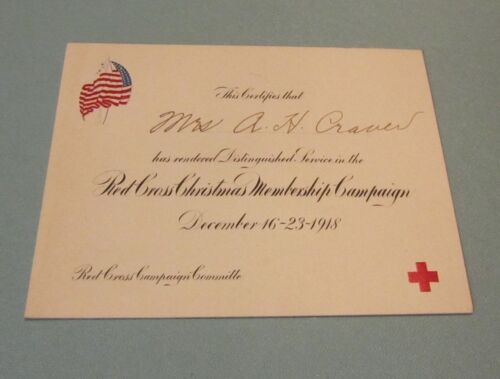 1918 American Red Cross Christmas Membership Campaign Distinguished Service Card