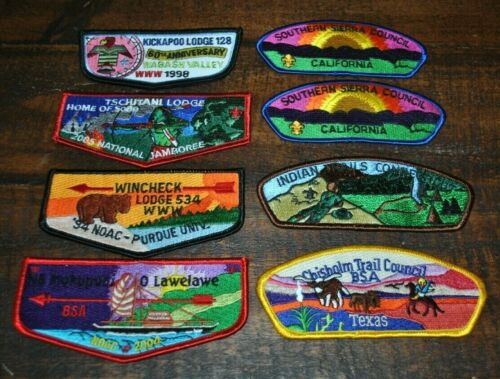 Lot of 8 SCOUT BSA COUNCIL FLAP PATCH TRIBE BADGES / OA - MUST SEE