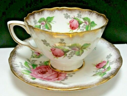 Vintage Adderley Fine Bone China TeaCup & Saucer Pink Red Rose Floral England