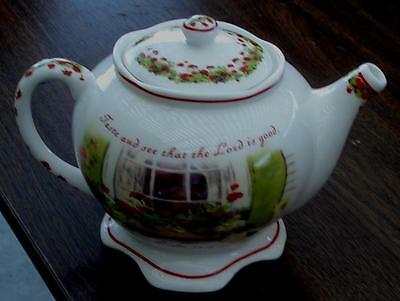 Beautiful Brownlow Heritage China Teapot, Ginger's Window, Psalm 34:8, VGC
