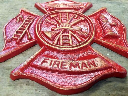 HAND PAINTED Red Fireman Plaque Maltese Firefighter Cross, cast iron 8 x 9 inch