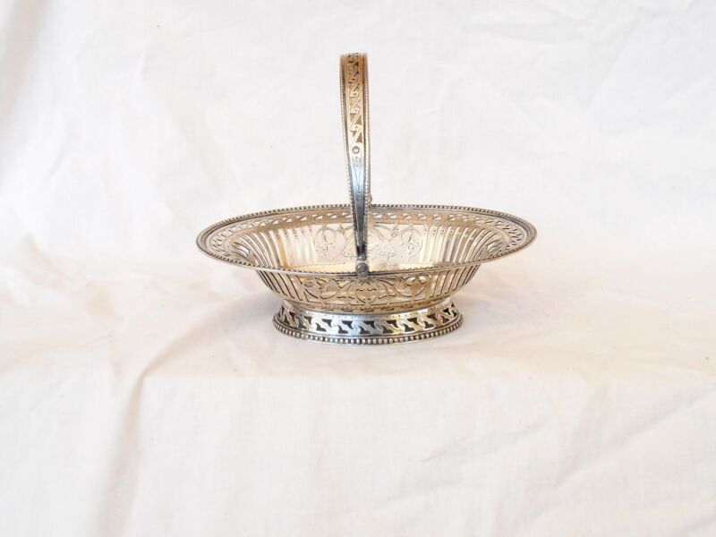 Very fine SILVER sweet meat basket 18th Century pierced and chased Continental