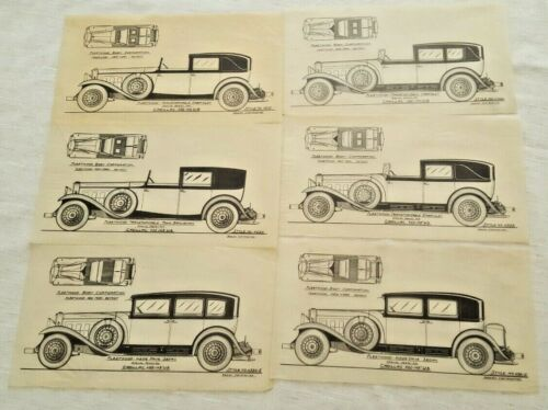 Lot of 6 Tissue drawings of Fleetwood Cadillac