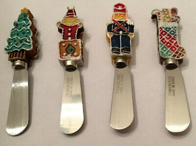 Knife Set of 4 Christmas Holiday Canape Knives Cheese Spreaders