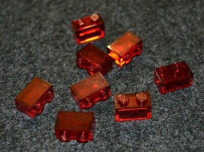 (8) 1x2 RED Translucent Bricks ~ New Lego Parts