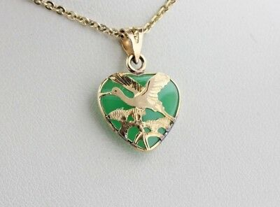 14K Yellow Gold Flying Seagull Bird Outline Green Jade Mini Heart Charm Pendant