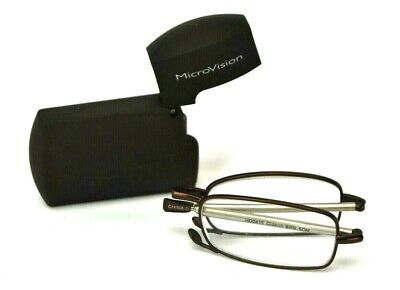 "Foster Grant Vision Craft Folding Micro-Readers ""Gideon"" Brown +2.50 (NEW)"