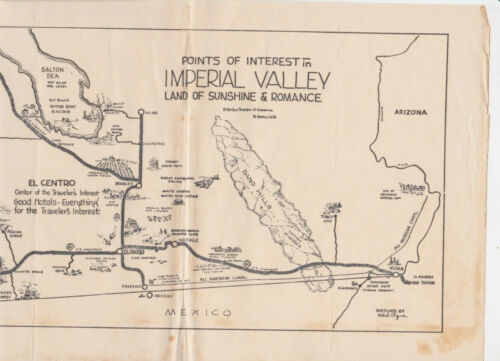 Sketched Map of Imperial Valley California Salton Sea Sunshine & Romance Antique