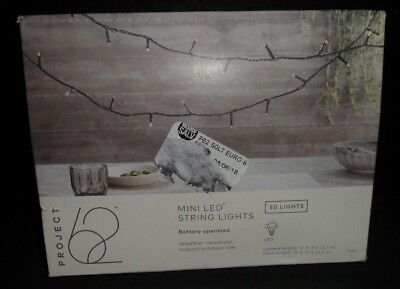 Project 62 Mini LED String Lights 50 count battery operated NIB (Battery Operated Black Lights)