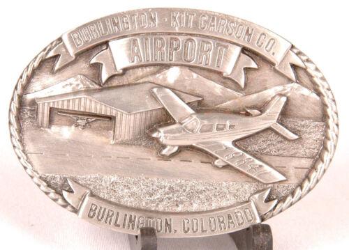 Burlington Kit Carson CO AIRPORT Belt Buckle-1984-Limited Edition 394 of 500-vtg