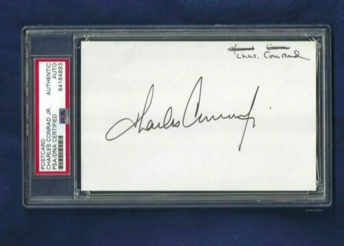 Charles Pete Conrad Autographed Government Postcard PSA SLAB NASA Astronaut