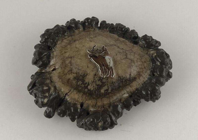 Elk Antler Belt Buckle Burr With Elk Emblem Sealed Handcrafted In Montana State