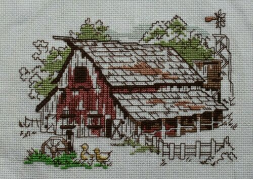 Rustic Red Barn and Ducks Cross Stitch Completed Finished