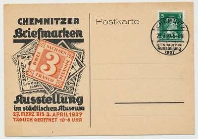 D.Reich Ausstellungs-Postkarte mit SST CHEMNITZ 29.3.27 (36104)