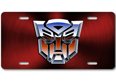 Transformers Autobot Color logo Aluminum Car Truck License Plate Tag Red