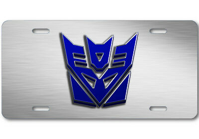 Transformers Decepticon Stone logo Aluminum Car Truck License Plate Steel Blue