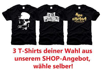 3 Stück Design T-Shirts, freie Auswahl aus unserem Shop! Top Angebot - 3 Stück Designer