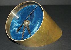 Vintage Brass Mid-Century Desk Clock with Ocean Blue Face Works