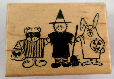 Psx Halloween Friends Animals In Costume Dressed Up D-972 Wooden Rubber Stamp - Friends In Halloween Costumes