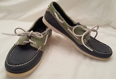 Used, Cabela's Leather 2 Eye Deck Boat Shoes Blue Green Women Size 9 M Loafers Slip On for sale  Belvidere