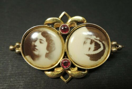 Antique Victorian 2 Frame Double  Mourning Photo ruby Brooch Pin /MARK